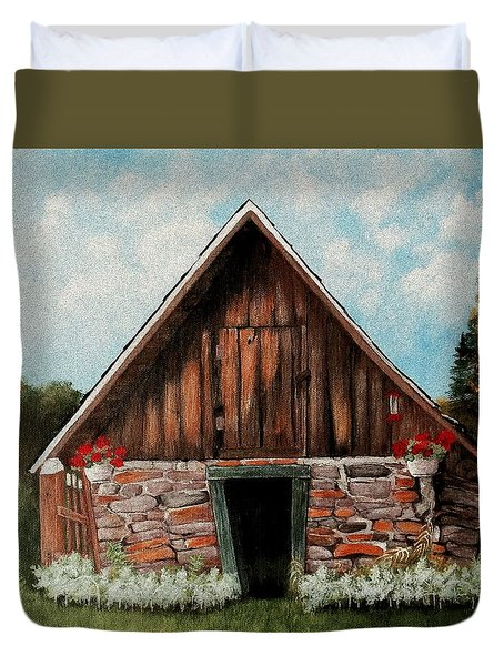 Duvet Cover featuring the painting Old Root House by Anastasiya Malakhova