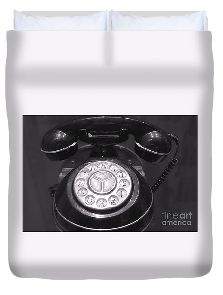 Old Rotary Dial Telephone Duvet Cover by Yali Shi
