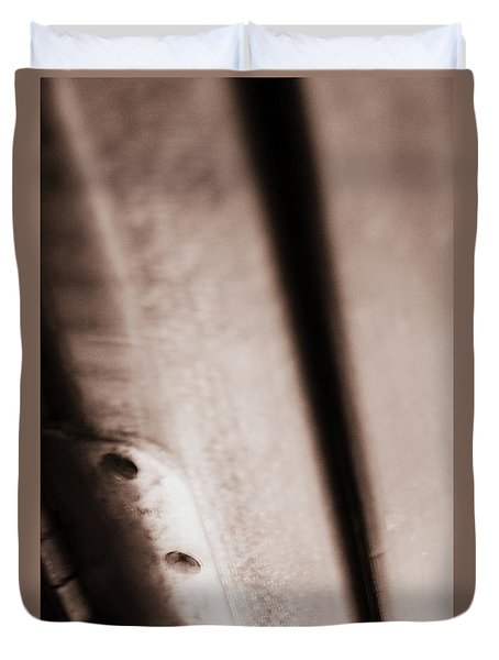 Duvet Cover featuring the photograph Old Rounded Hinge by Steven Macanka