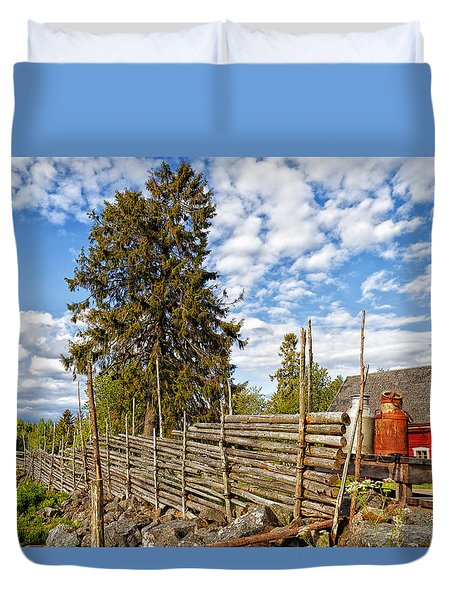 Old Rural Farm Set In A Beautiful Summer Nature Duvet Cover by Christian Lagereek