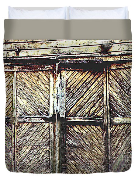 Old Rusted Barn Door Duvet Cover