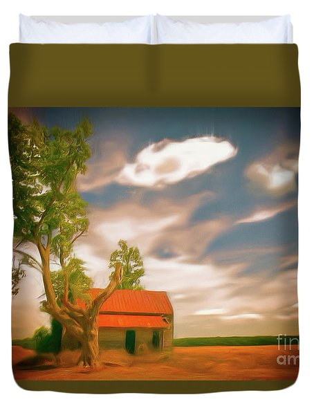 Old Rustic Vintage Farm House And Tree Ap Duvet Cover by Dan Carmichael