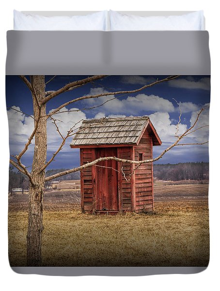 Old Rustic Wooden Outhouse In West Michigan Duvet Cover