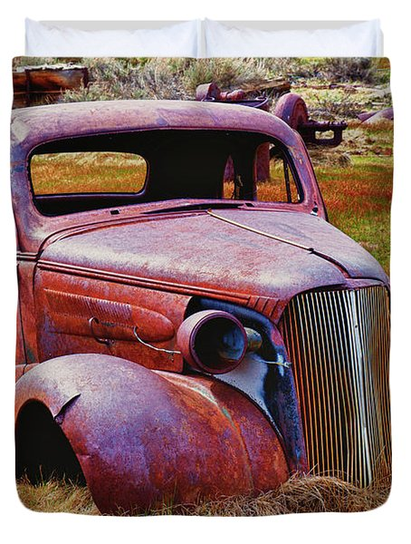Old Rusty Car Bodie Ghost Town Duvet Cover