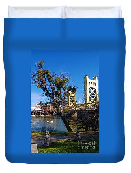 Old Sacramento Tower Bridge Duvet Cover
