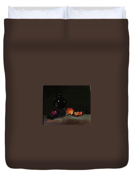 Old Sake Jug And Fruit Duvet Cover