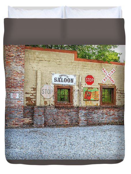 Duvet Cover featuring the photograph Old Saloon Wall by Doug Camara