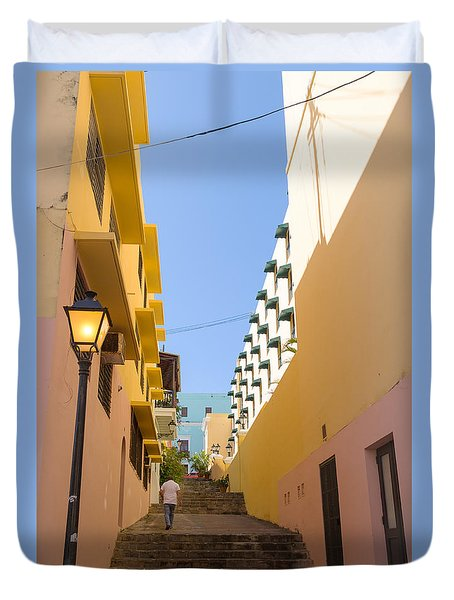 Duvet Cover featuring the photograph Old San Juan Alleyway by Jose Oquendo