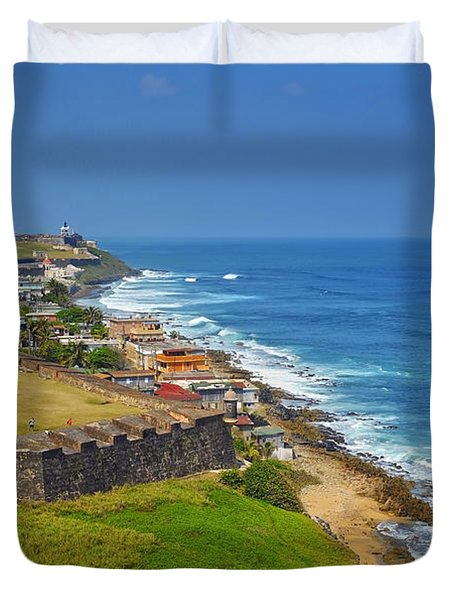 Old San Juan Coastline Duvet Cover by Stephen Anderson