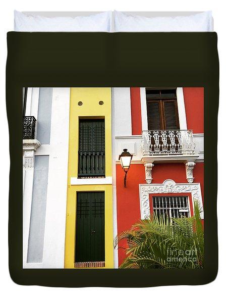 Old San Juan Homes Duvet Cover