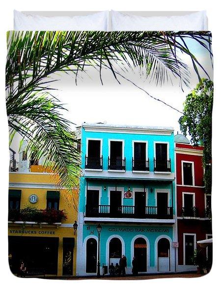 Duvet Cover featuring the photograph Old San Juan Pr by Michelle Dallocchio