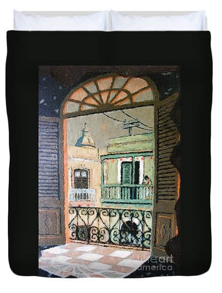 Old San Juan View Duvet Cover by The Art of Alice Terrill