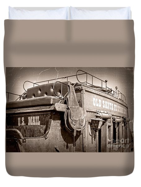 Old Santa Fe Stagecoach Duvet Cover
