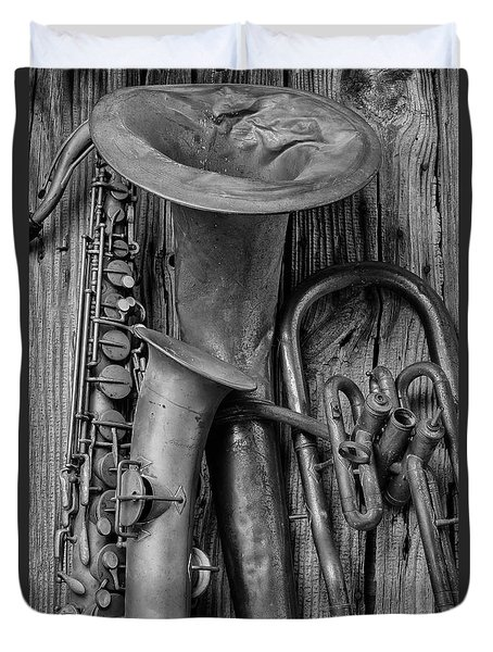 Old Sax And Tuba Duvet Cover