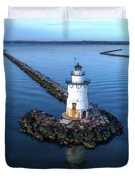 Old Saybrook Outer Lighthouse Duvet Cover