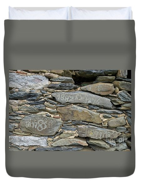 Old Schist Wall With Several Dates From 19th Century. Portugal Duvet Cover by Angelo DeVal