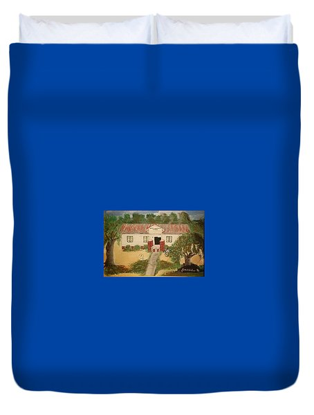 Duvet Cover featuring the painting Alvin South Carolina Old School House by Joetta Beauford