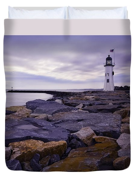Old Scituate Light At Sunrise Duvet Cover