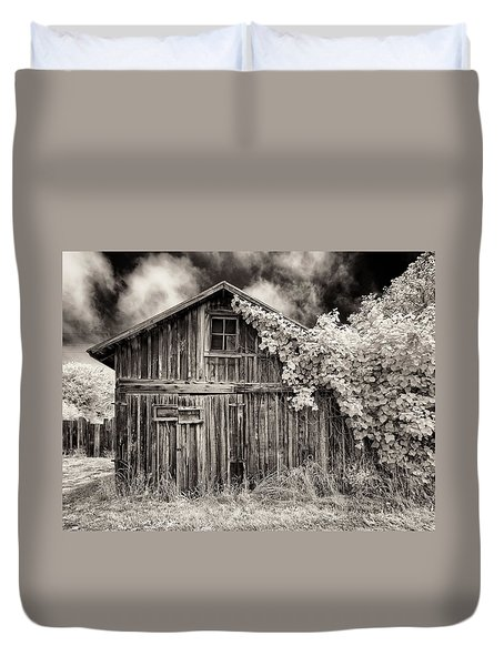 Duvet Cover featuring the photograph Old Shed In Sepia by Greg Nyquist