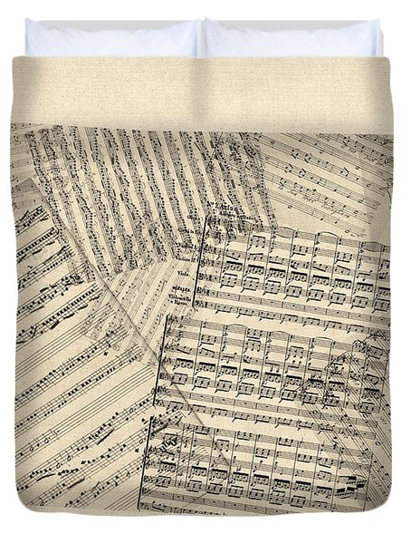 Old Sheet Music Map Of Colorado Duvet Cover