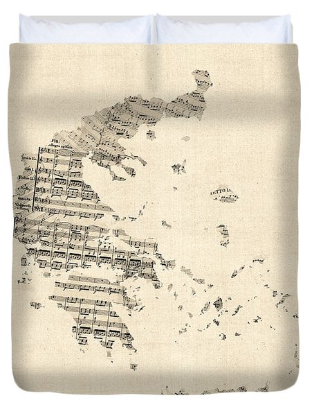 Old Sheet Music Map Of Greece Map Duvet Cover