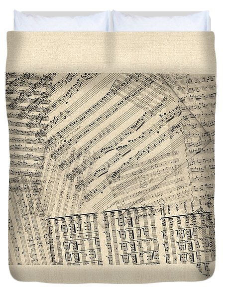 Old Sheet Music Map Of Iowa Duvet Cover
