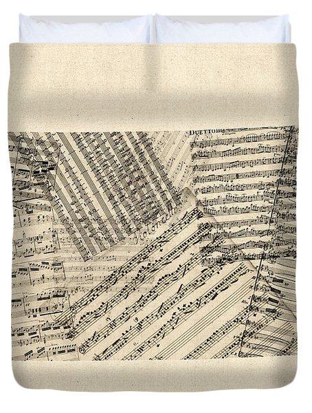 Old Sheet Music Map Of Kansas Duvet Cover