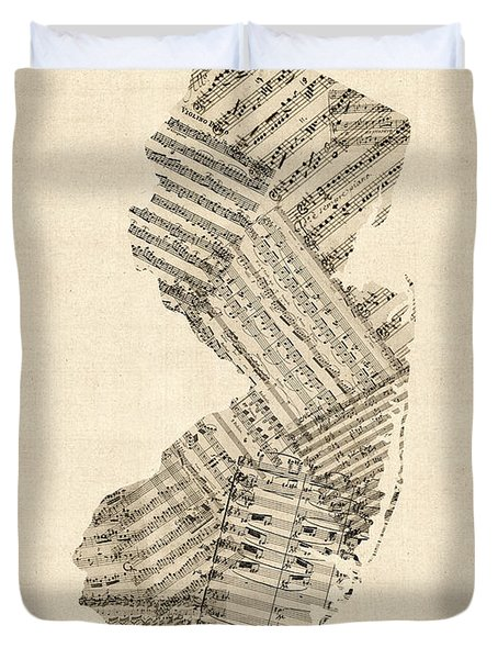 Old Sheet Music Map Of New Jersey Duvet Cover by Michael Tompsett