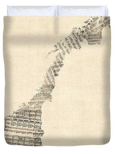 Old Sheet Music Map Of Norway Duvet Cover