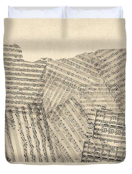 Old Sheet Music Map Of Oregon Duvet Cover