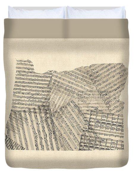Old Sheet Music Map Of Oregon Duvet Cover by Michael Tompsett