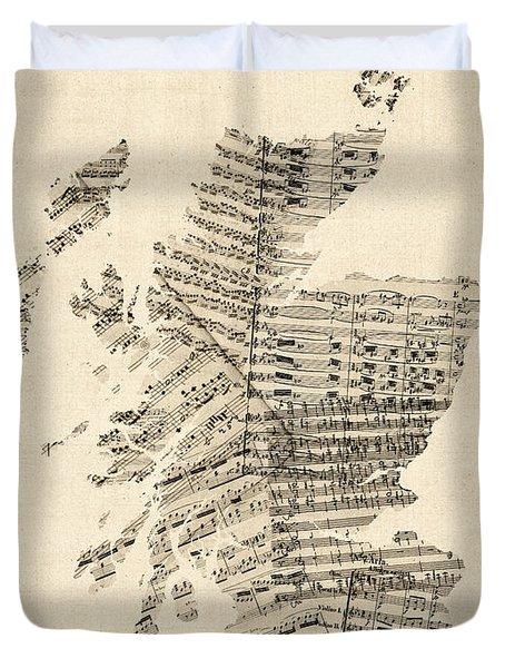 Old Sheet Music Map Of Scotland Duvet Cover