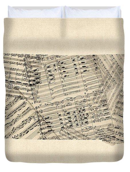 Old Sheet Music Map Of South Dakota Duvet Cover