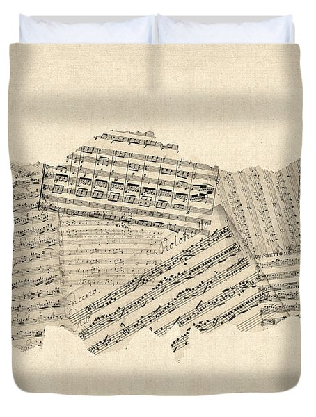Old Sheet Music Map Of Turkey Map Duvet Cover