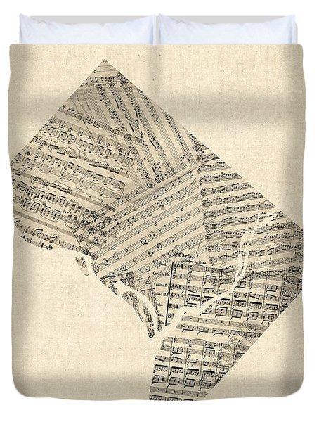 Old Sheet Music Map Of Washington Dc Duvet Cover