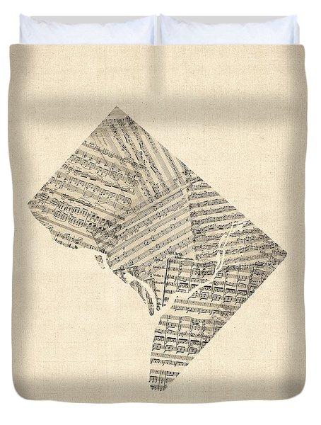 Old Sheet Music Map Of Washington Dc Duvet Cover by Michael Tompsett