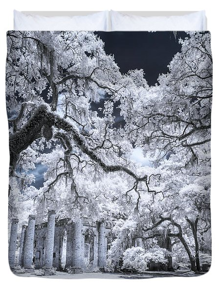 Old Sheldon Church In Infrared Duvet Cover