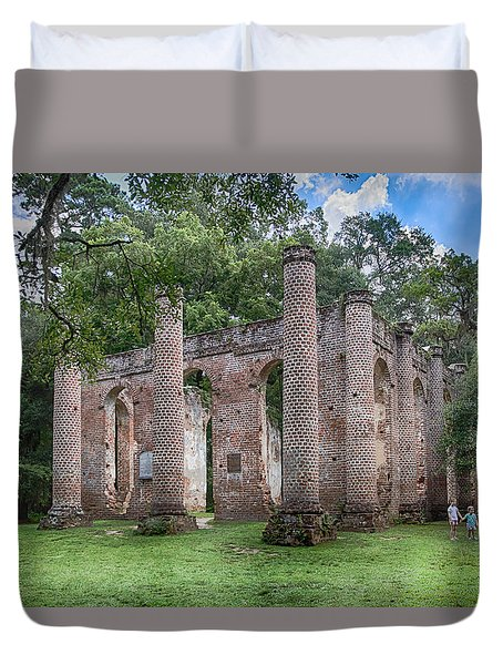 Duvet Cover featuring the photograph Old Sheldon Church by Patricia Schaefer