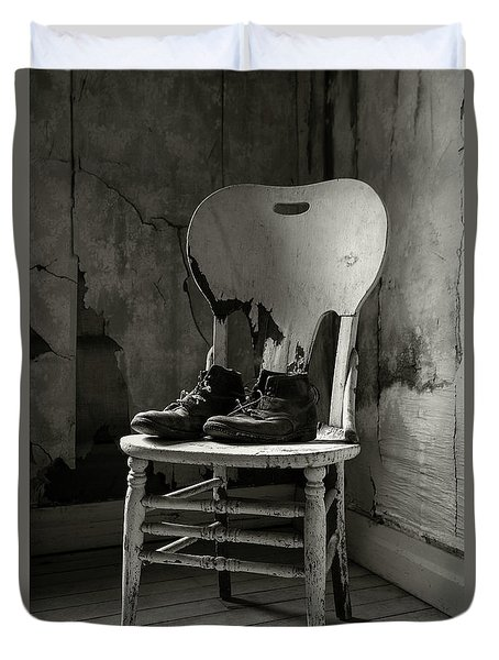 Old Shoes On A Chair Duvet Cover