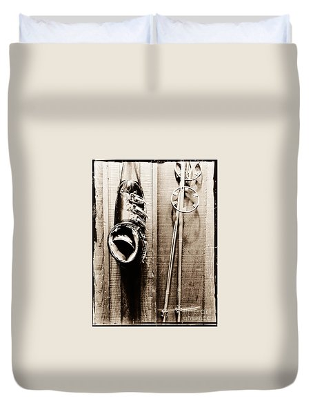 Old Ski Boot And Pole Duvet Cover by Amy Fearn