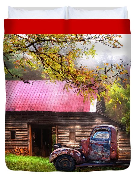 Duvet Cover featuring the photograph Old Smoky Truck And Barn by Debra and Dave Vanderlaan