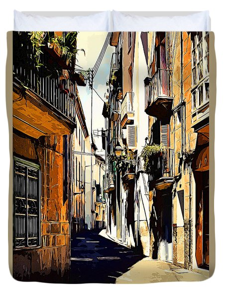 Old Spanish Street Duvet Cover