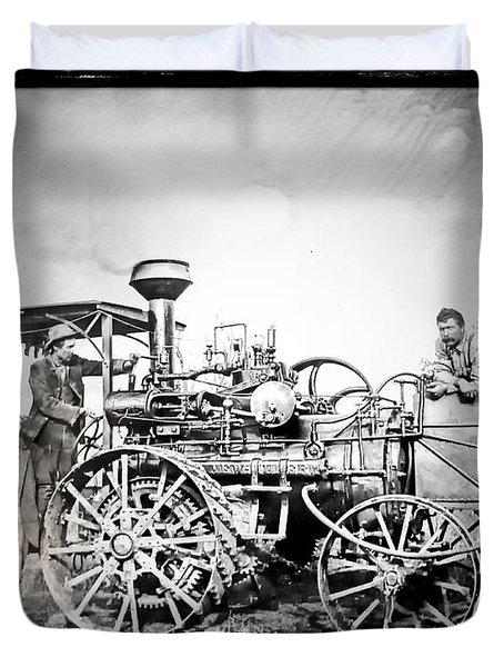 Old Steam Tractor Duvet Cover