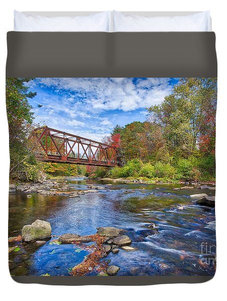 Duvet Cover featuring the photograph Old Steel Truss Train Bridge Newport New Hampshire by Edward Fielding