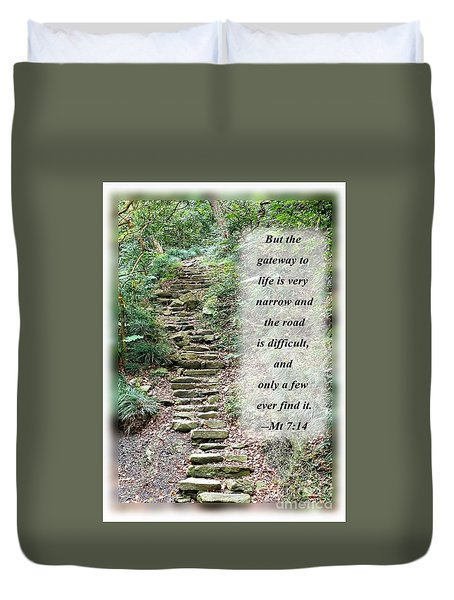 Old Stone Path In A Dense Forest With Scripture Duvet Cover by Yali Shi
