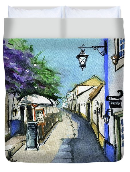 Duvet Cover featuring the painting Old Street In Obidos, Portugal by Dora Hathazi Mendes