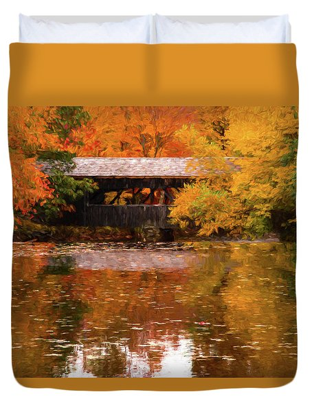 Duvet Cover featuring the photograph Old Sturbridge Village Covered Bridge by Jeff Folger