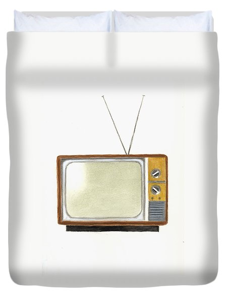 Old Television Set Duvet Cover by Michael Vigliotti