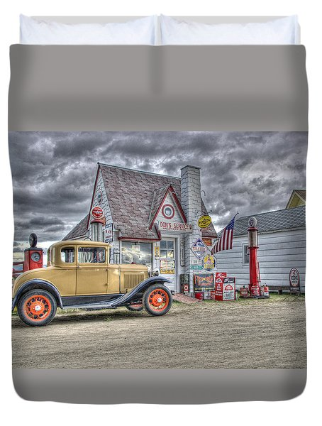 Old Time Gas Station Duvet Cover