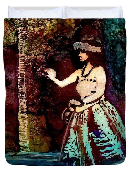 Old Time Hula Dancer Duvet Cover by Marionette Taboniar